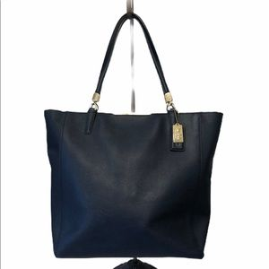 COACH Madison Saffiano Leather Tote Navy